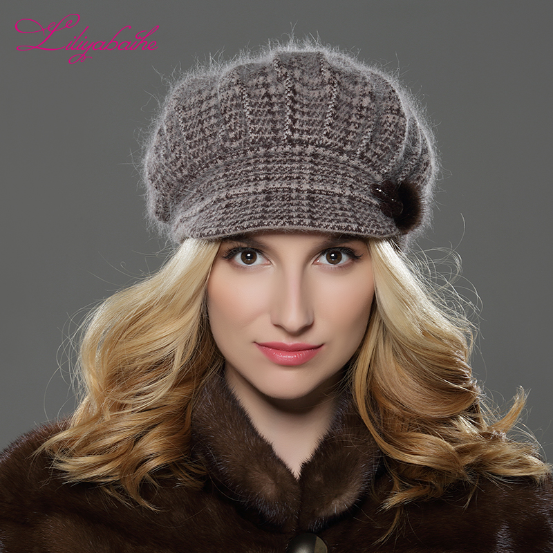 LILIYABAIHE NUEVO Estilo Mujeres Sombrero de invierno Sombrero de ala tejida lana angora sombrero Sombrero de visón geométrico decoración de la flor tapa Doble sombrero caliente