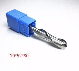 Image 2 - Fresas de punta de bola de carburo de tungsteno, Ø 10mm, corte de hoja L1 = 52mm, enrutador de corte de grabado CNC, broca para fresa