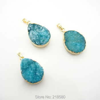 PS00067 Blue Crystal Druzy Teardrop Pendants with Gold Electroplated Trim