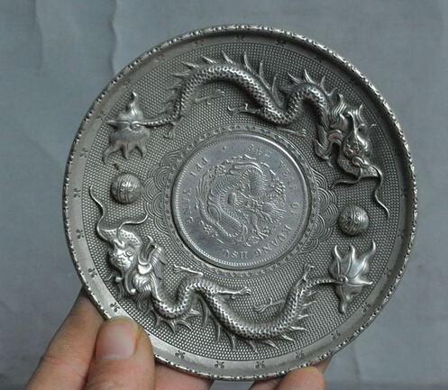 decoration brass factory outlets Tibet Silver Old Chinese tibet silver Zodiac Animal statue Dragon money Coin wealth Plate
