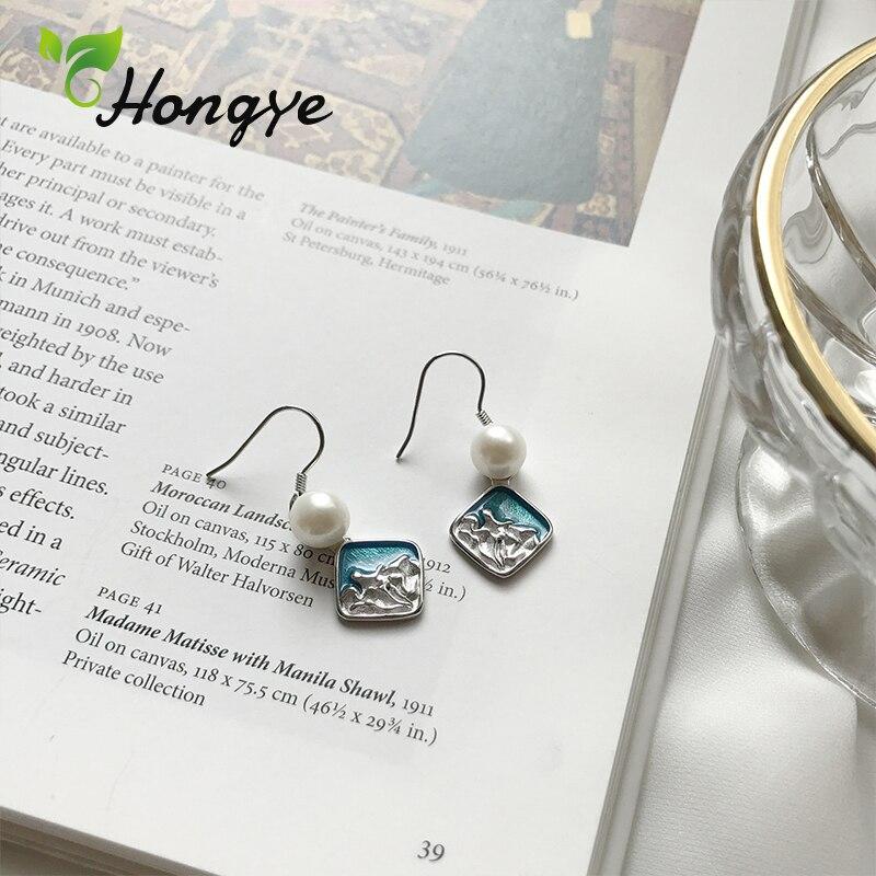 Hongye Blue Wave Hanging Earrings for Women Elegant Korean Jewelry Silver 925 Ear Hook Luxury Female Drop Earrings Drop Shipping in Earrings from Jewelry Accessories