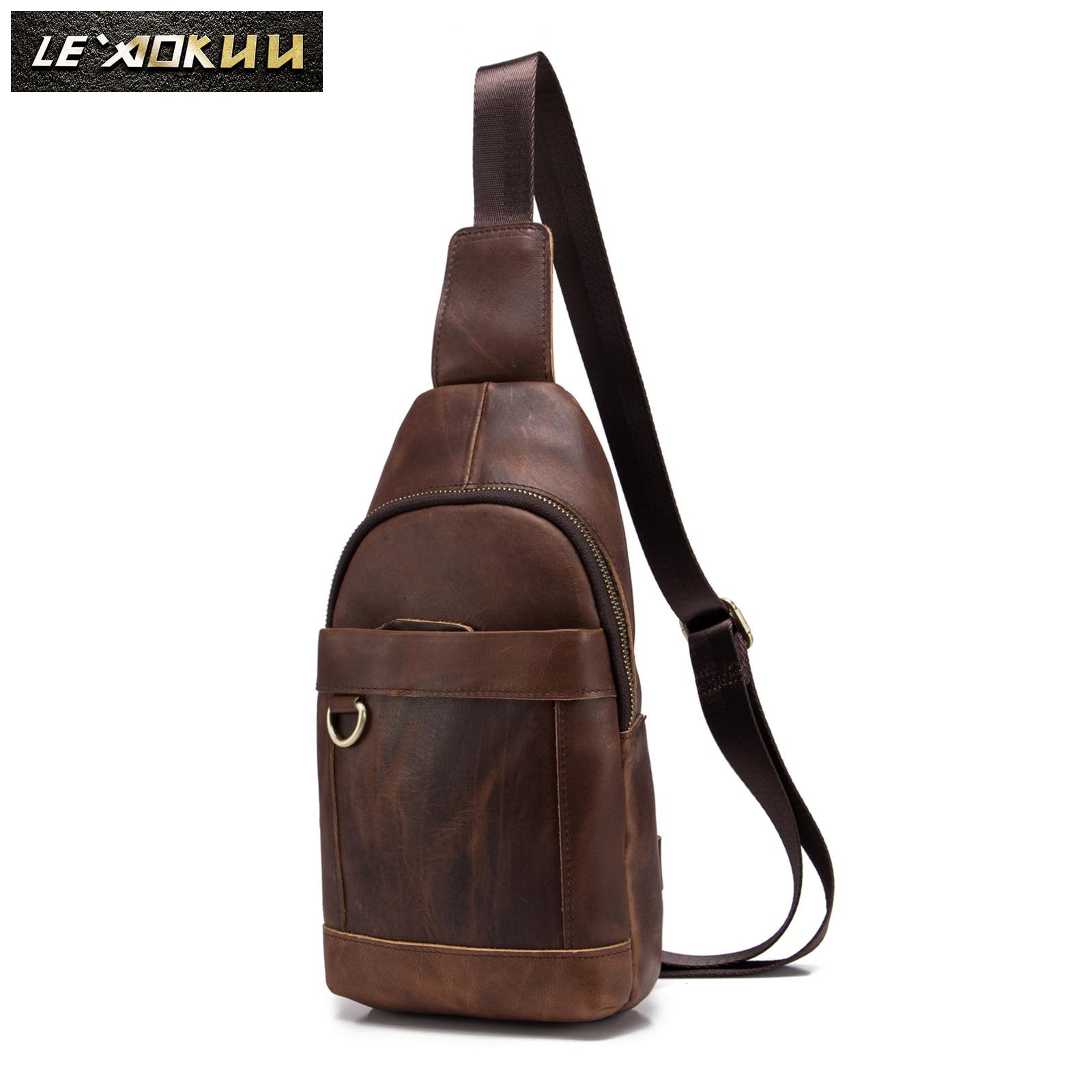 Men Genuine Leather Casual Fashion Waist Pack Chest Bag Design Sling Bag One Shoulder Bag Crossbody Bag For Male 8016d