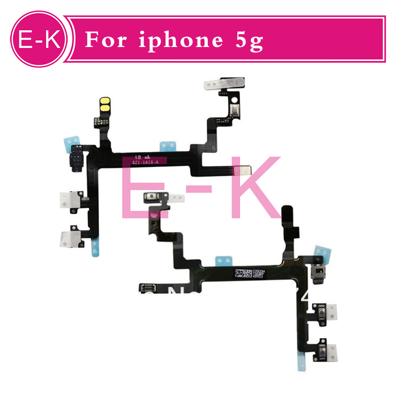 100pcs/lot For IPhone 5 5G Power Mute Volume Button Switch Connector Flex Cable Ribbon Replacement Repair Parts Free shipping