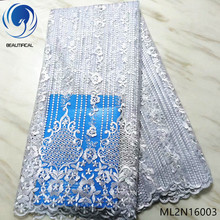 BEAUTIFICAL nigerian lace fabrics embroidery beads net with stones 5yards Latest style african tulle ML2N160