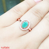 KJJEAXCMY fine jewelry 925 Pure silver inlay natural emeralds female rose gold plated ring simple