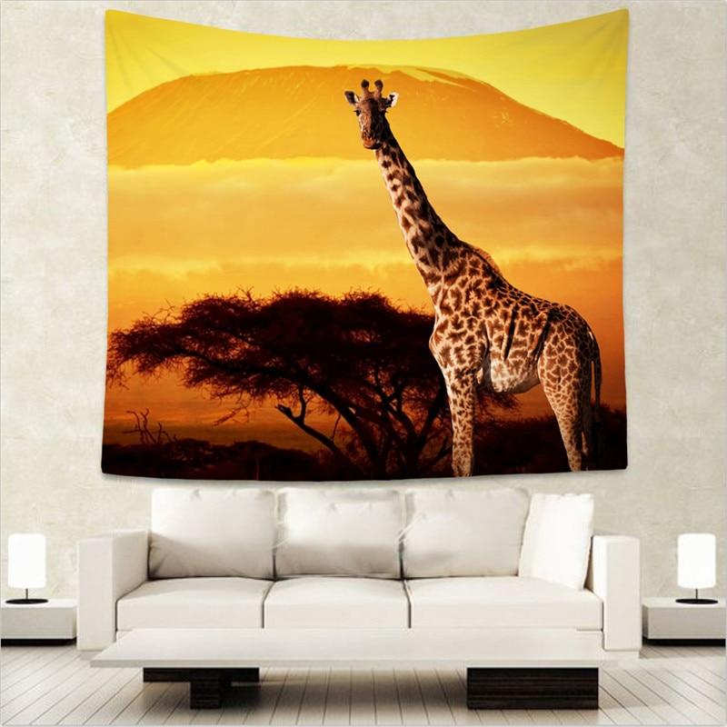 Giraffe Decorative Home Wallpaper Printed Lifelike Mandala Hippie Boho Tapestry Wall Hanging WE