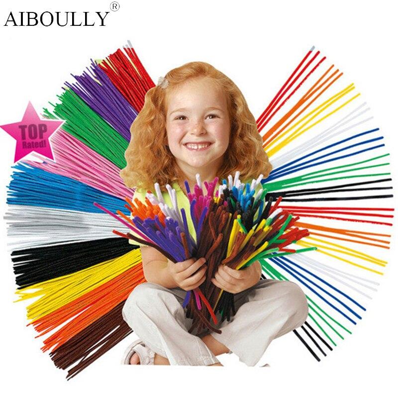100Pcs/set Educational Toys Montessori Materials Chenille Children Sticks Puzzle Craft Colorful Pipe Cleaner Handmade DIY Toys