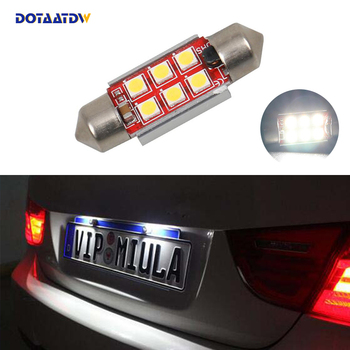 1x Car Led Error Free 36mm C5W 3030 SMD Lamp 12V License Number Plate Light For BMW E46 E90 E92 E39 E53 E60 E71 Mini Cooper image