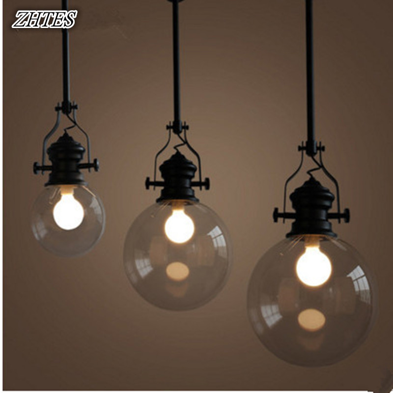 American Village Simple Transparent Pendant Light Vintage Creative Cafe Restaurant Glass Ball Pendant Lights 2016 decorative dove design transparent glass pendant light vintage edison light north european style village glass