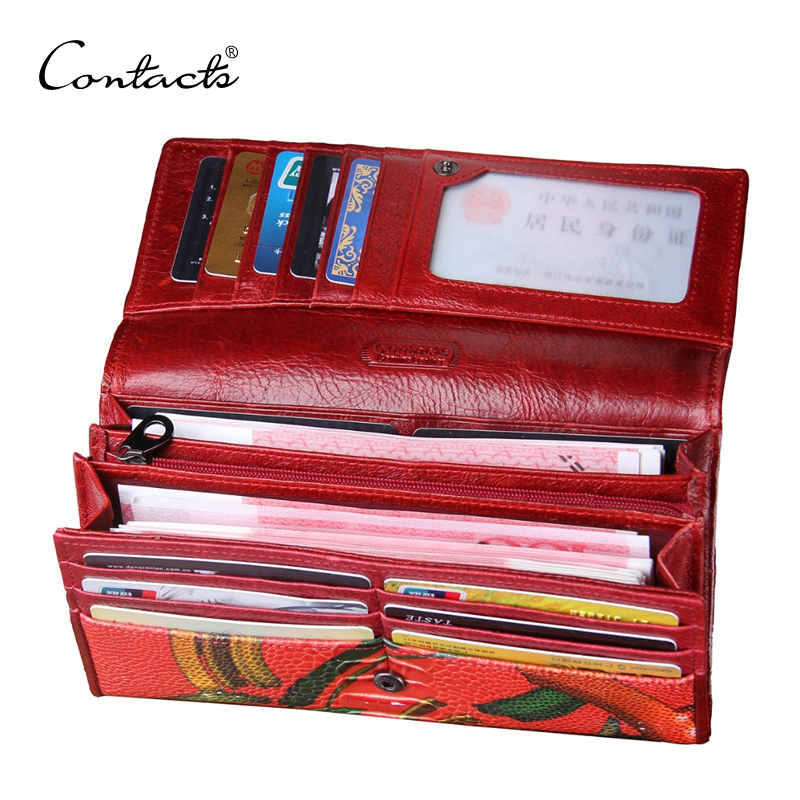 CONTACT'S Women Clutch Wallet Genuine Leather Luxury Brand Purse For Cell Phone Female Long Wallets Evening Bag Fashion Walet