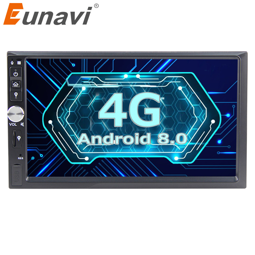 Eunavi 2 Din 7 Octa core Universal Android 8.0 4G RAM Car Radio Stereo GPS Navigation WiFi 1024*600 Touch Screen 2din Car PC
