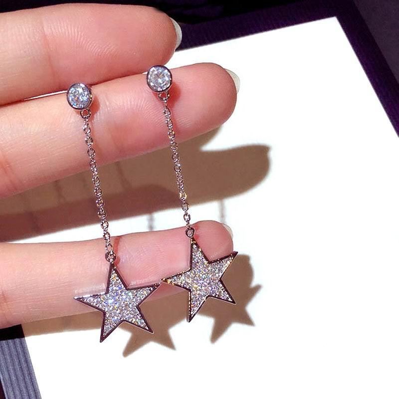 Korean Simple Star Long Earrings For Women Girls New Fashion Jewelry Earings Micro Pave Rhinestone Bijoux Fine Birthday Gift