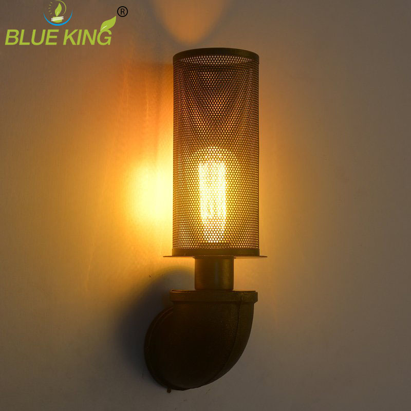 water pipe wall lamps vintage american country mesh cover in