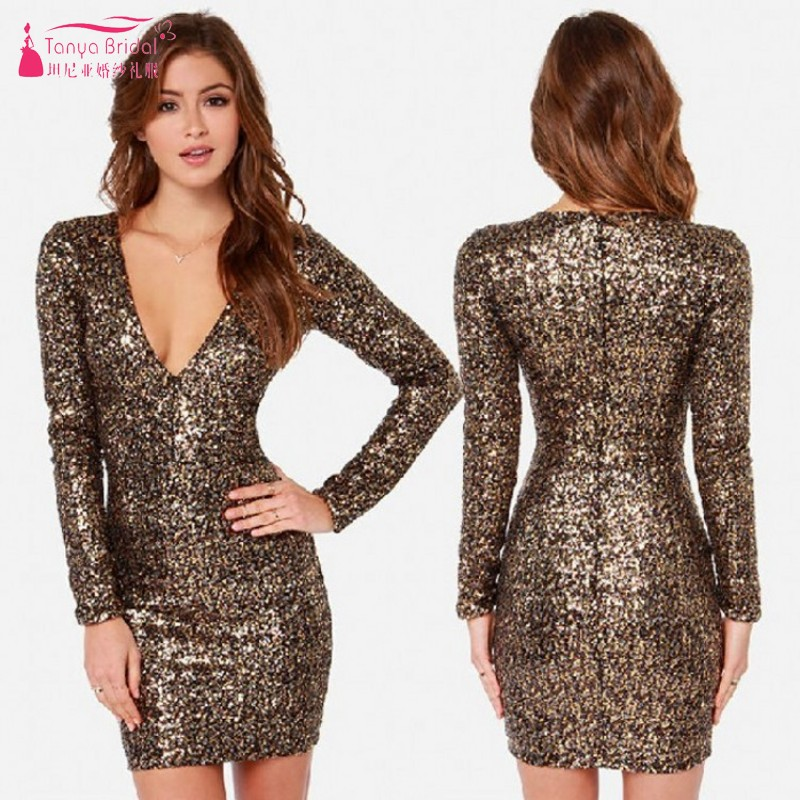TANYA Gold Sequins Short Mini Cocktail Dresses Straight V Neck Sexy Simple Women Party Dress Gown In Stock  JQ230