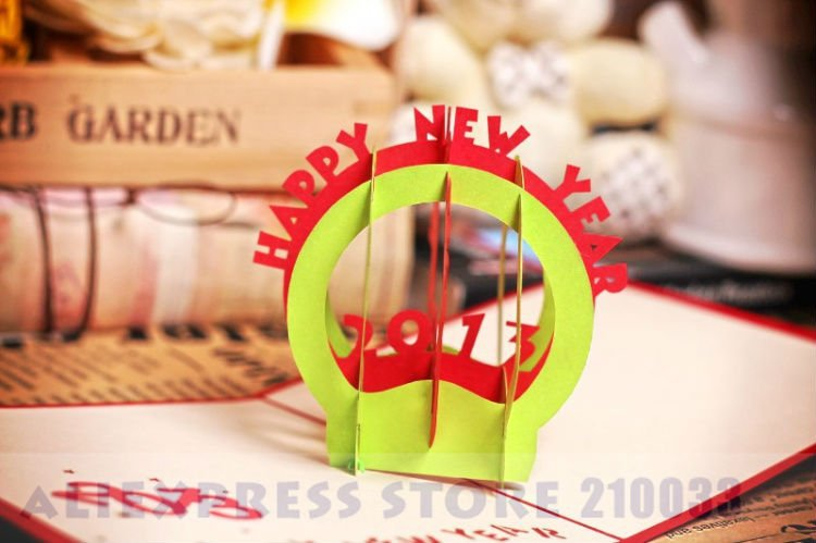 2013 Happy New Year 3D Handmade Creative Kirigami ...