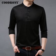 COODRONY Button Mandarin Collar T-Shirt Men 2019 New Business Casual Long Sleeve T Shirt Men Cotton Tee Shirt Homme Tshirt 95015 side button surplice long sleeve t shirt for men