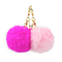 Fashion faux rabbit fur pompom key chains for women girls 2017 gold plated cute keychain ring jewelry llaveros mujer