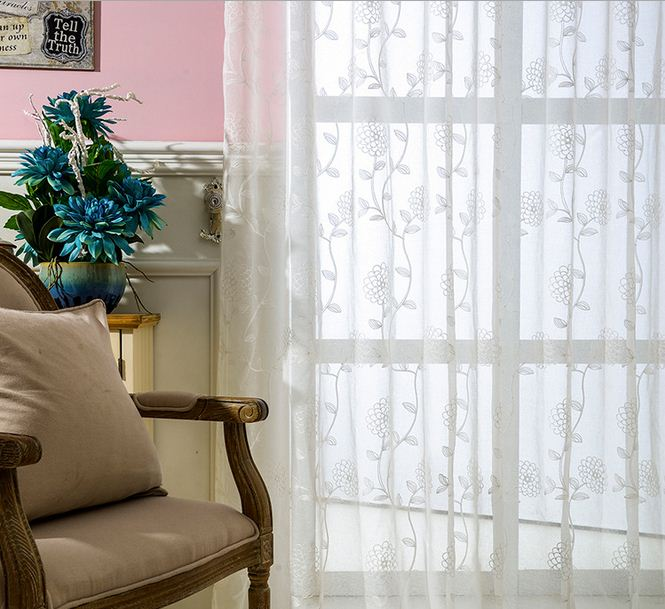 Embroidered Voile Curtains Flower Tulle Window Curtain Country Style Roman Co
