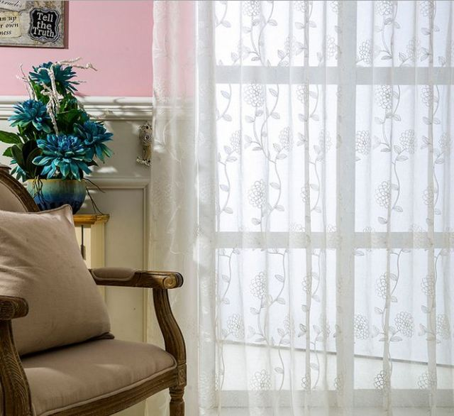 Embroidered Voile Curtains Flower Tulle Window Curtain Country Style