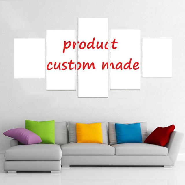 Drop shipping Customized 5 Panel Custom Modular Canvas Wall Art Posters Picture For Living Room Home Decor Painting Frame TYG