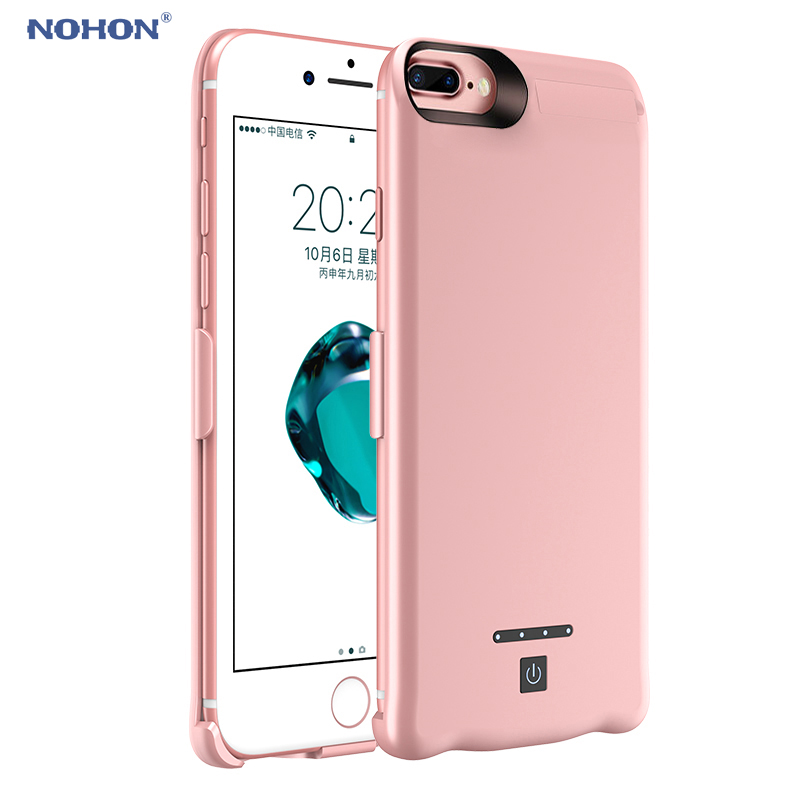 "bilder für Nohon 8000 mah dünne intelligente batteriefach für iphone 7 plus/6 plus/6 s plus 5,5 ""externe Backup-Power Rose Gold NH-B003"
