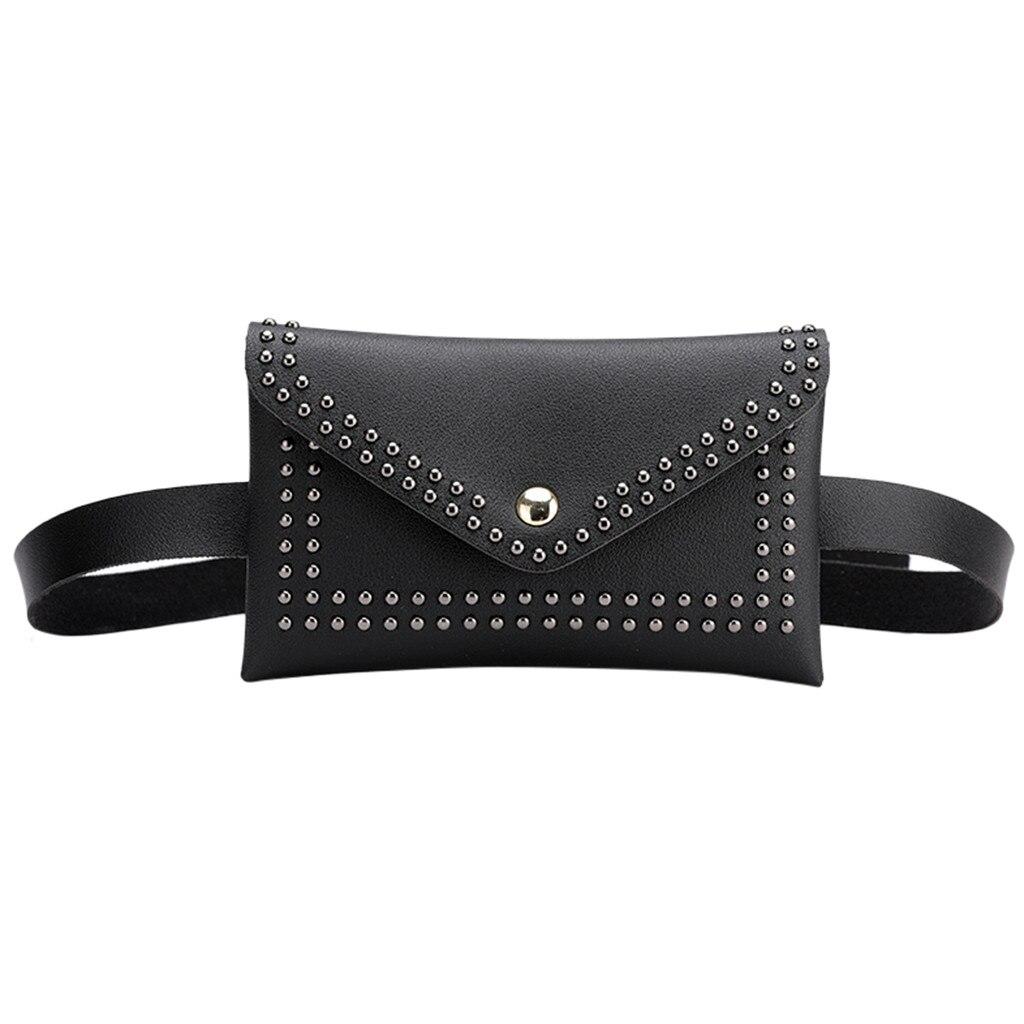Fashion Women Outdoor Rivets Hasp Solid Color Messenger Bag Chest Bag Waist Bag Rivet Envelope Lady Small Pockets #S