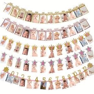 Image 1 - Meiddingベビー誕生日 12 ヶ月写真ホオジロベビーシャワー紙花輪少年少女 1st誕生日パーティーの装飾用品
