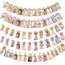 Meidding banners de aniversário do bebê, enfeite de fotos de 12 meses, decoração de chá de bebê, guirlanda para meninos e meninas, material de decoração da festa do primeiro aniversário