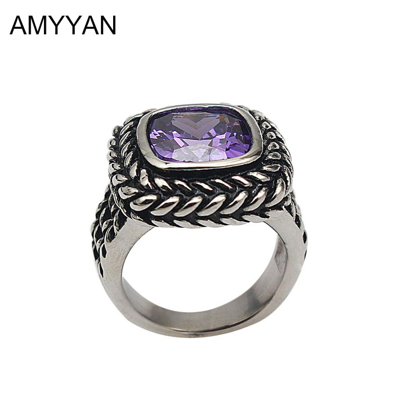 316L Stainless Steel Big Square Stone Finger Ring Men Women Jewelry Antique Silver Plated Crystal Ring For Men Women R10065
