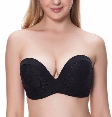20c9478591 32-70 A B C D E F G CUP plus size deep V neck bra underwear slip-resistant  seamless push up invisible strapless bra wedding