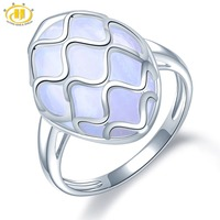 Hutang 14x20mm Natural Agate Rings Gemstone Solid 925 Sterling Silver Wave Ring Fine Stone Jewelry for Women Girls Best Gift New