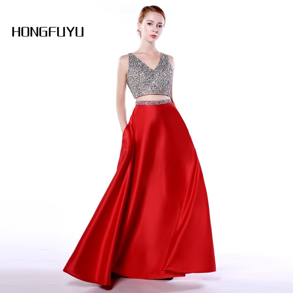 Luminoso satén rojo 2 piezas de una línea de cuello V Vestidos de - Vestidos para ocasiones especiales