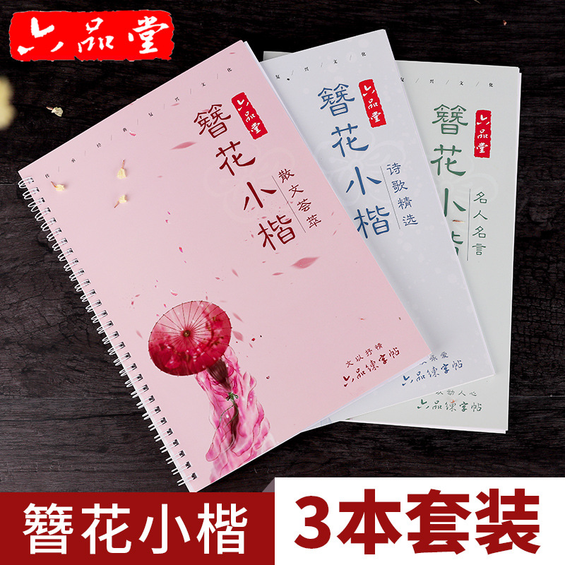 Liu Pin Tang 3pcs/set Floral Calligraphy Copybook For Adult Antiquity Copy Painting Pen Regular Script