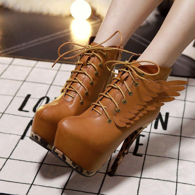 New Nice Fashion Patchwork Wings font b women s b font platform ankle font b boots