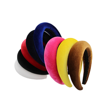 ФОТО hot 4 cm wide new solid color thick velvet plastic hairband headwear brief fashion girls women headband lovely hair accessories