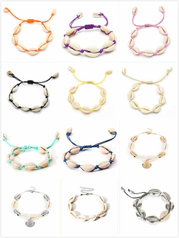 Czeski Cowrie szyszka bransoletki bransoletki dla kobiet moda oceanu morze powłoki plaży bransoletki Boho biżuteria powlekana nowy gorący