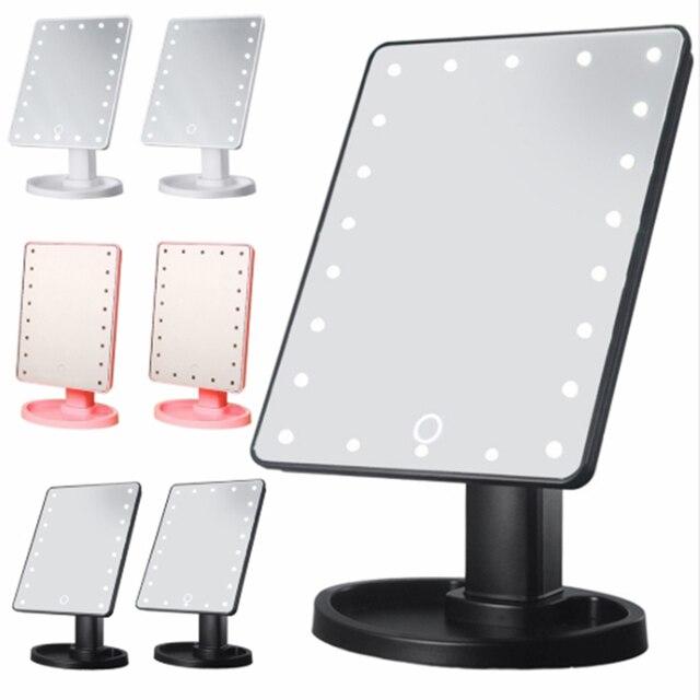 Maquillaje espejo luces pantalla táctil maquillaje espejo personalizado 1X 10X mesa Led espejo luz USB Cable baterías usar 16/22 luces