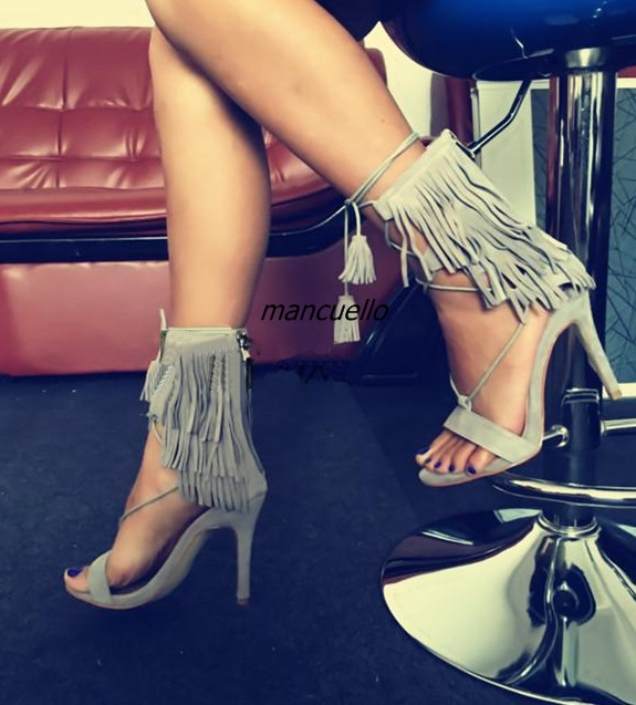 Classy Fringe Open Toe Stiletto Heel Dress Sandals Women Grey Suede Cross Strap Ankle Lace Up Sandals Delicate TasselDress Shoes young girl s black suede open toe lace up ankle sandal boots stiletto heel fringe dress shoes braid embellished party shoes