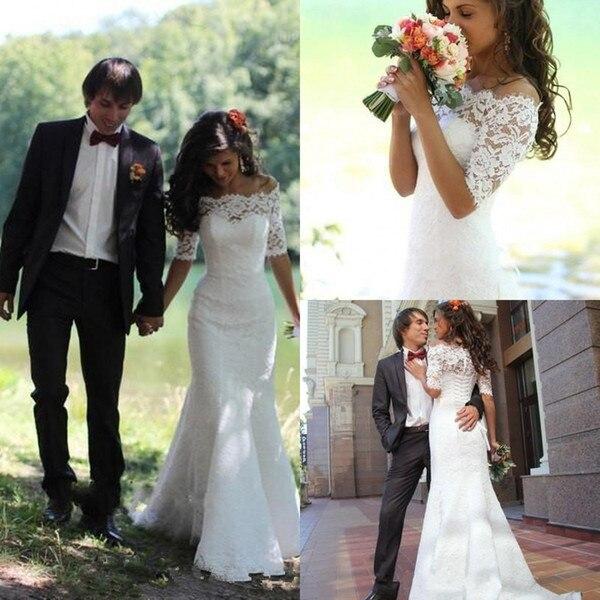 Mermaid Wedding Dresses 2019 Lace Half Sleeves Bridal Gowns Off The Shoulder Trumpet Vestido De Novia Marriage Garden Church New