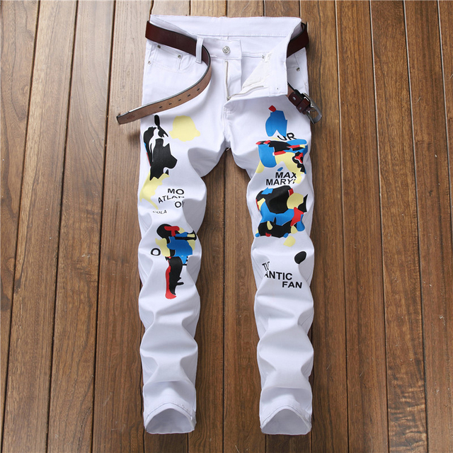 Sokotoo Men's fashion colored pattern black and white printed jeans Casual slim straight painted stretch cotton pants