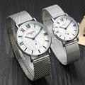 2017 Ultrafinos relojes Amantes reloj para hombres mujeres de Los Hombres de Malla de acero inoxidable banda de cuarzo Reloj de pulsera forma femenina reloj masculino