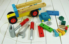 New !  Nut dismantling engineering vehicles disassembling tool wooden toy car Free Shipping