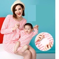 2017 Cheap 2 Pieces Mummy+Newbore Brand New Striped Maternity&Nursing Dresses Cotton Full A-line O-Neck Mini Casual Mummy Dress