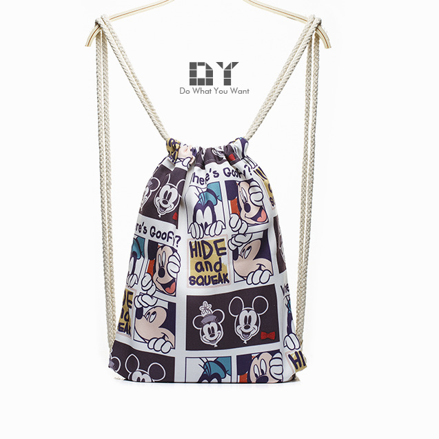 2016 printing backpack dy backpack drawstring funny mickey digital printing ladies personality shoulders bags wholesale