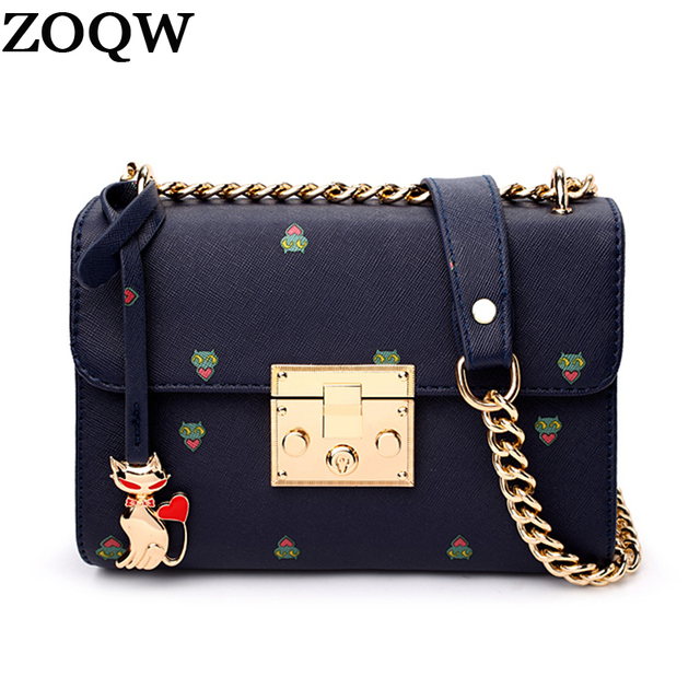 b656f6dfa ZOQW 2018 Women Bag Fashion Women Messenger Bags Chain Shoulder Bag Cat  High Quality PU Leather Crossbody bolsos mujer WYQ403