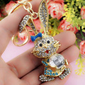 Lovely Bowknot Rabbit Crystal Rhinestone Bag Pendant Key chains Holder women Keyring Keychain For Car Fashion Jewelry K184
