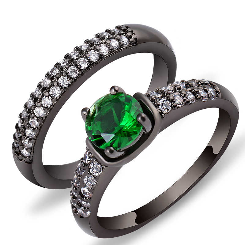 Charming L สีเขียวคริสตัล Zircon แหวนชุด Vintage แหวนผู้ชายสีดำทองเครื่องประดับวาเลนไทน์วัน