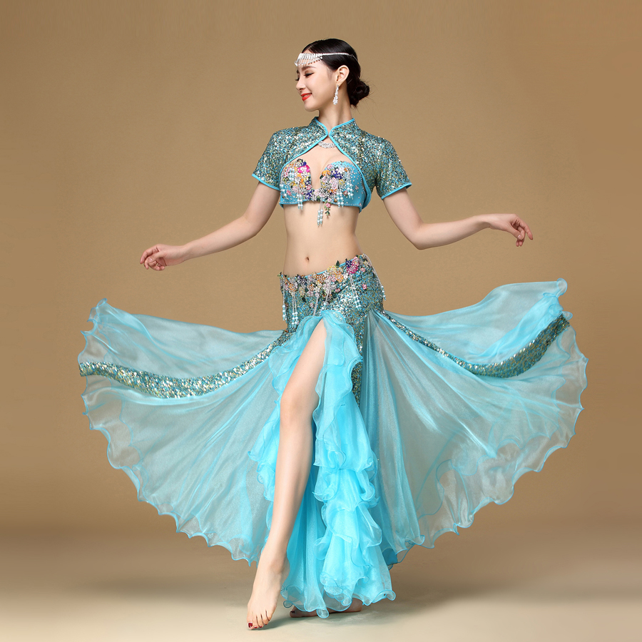 Women Dancewear Performance Egyptian Bellydance Clothes Outfit C/D Cup Maxi Skirt Belly Dance Costume Set with Sleeveless Jacket