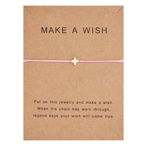 Простой крест красная струна браслет Регулируемая плетение счастливая Веревка Браслеты для женщин мужчин детей подарок ювелирные изделия ручной работы - Окраска металла: cross pink