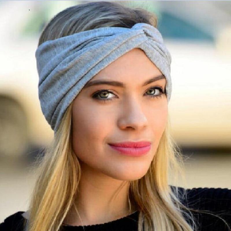 cotton twist elasticity turban headbands for women sport head band